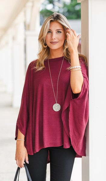 On The Road Sweater/Poncho, Burgundy