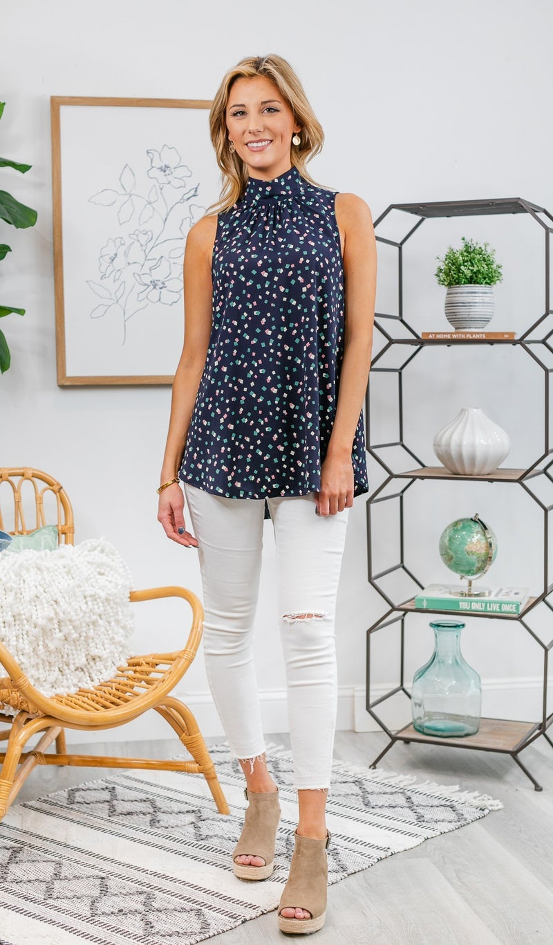 There For You Tank Blouse, Navy