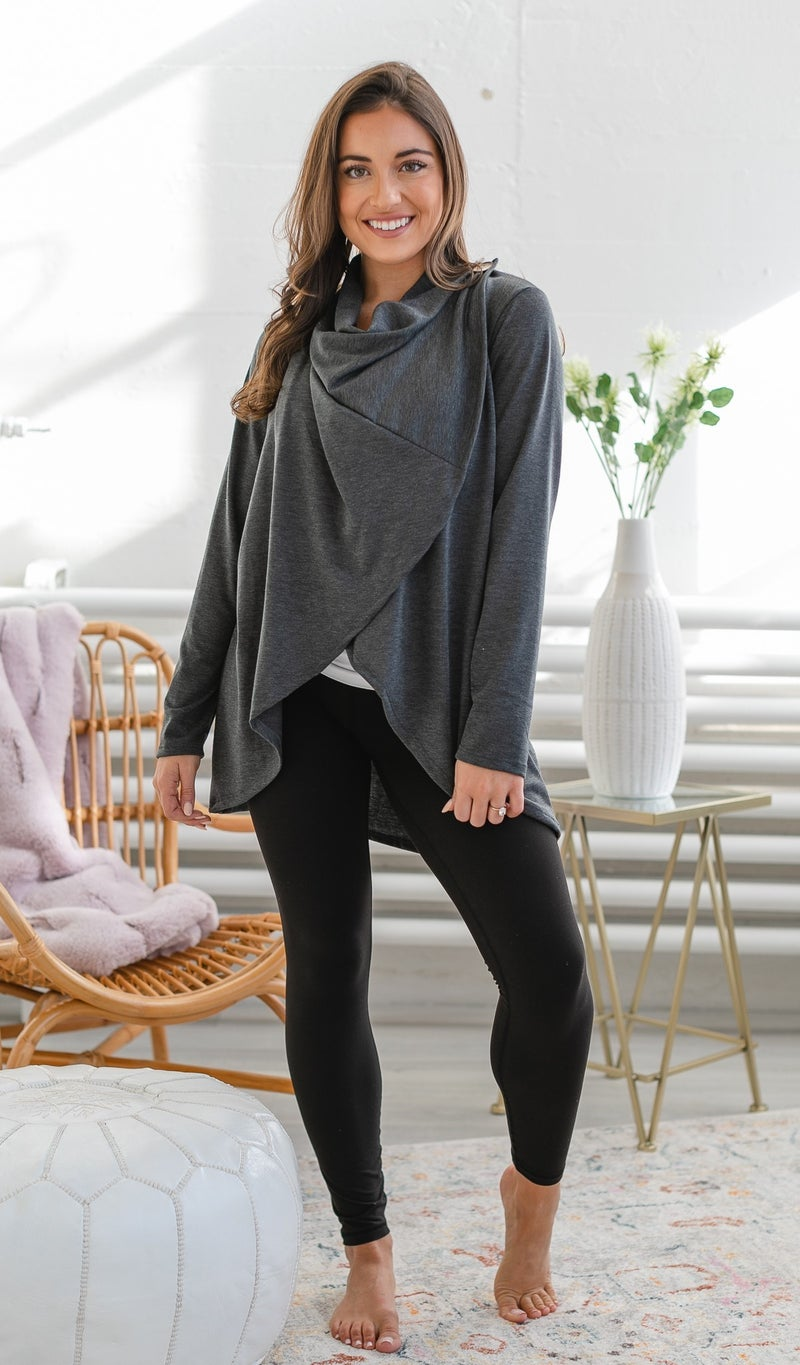 Wrapped In Comfort Top, Charcoal