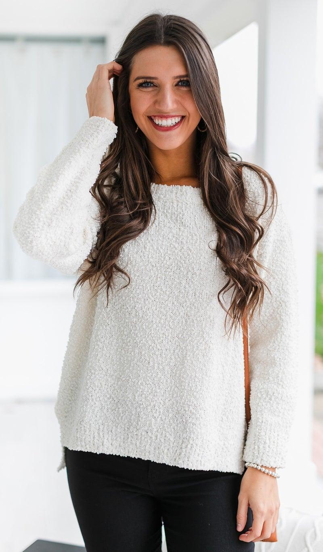 Winter Crisp Knit Sweater, Cream