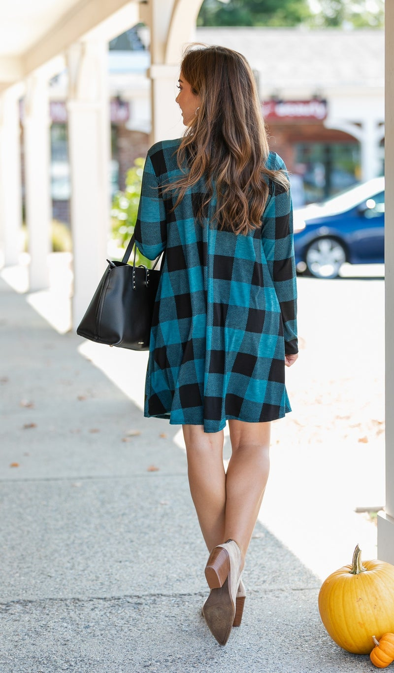 Crisp As Can Be Buffalo Check Dress, Teal & Black