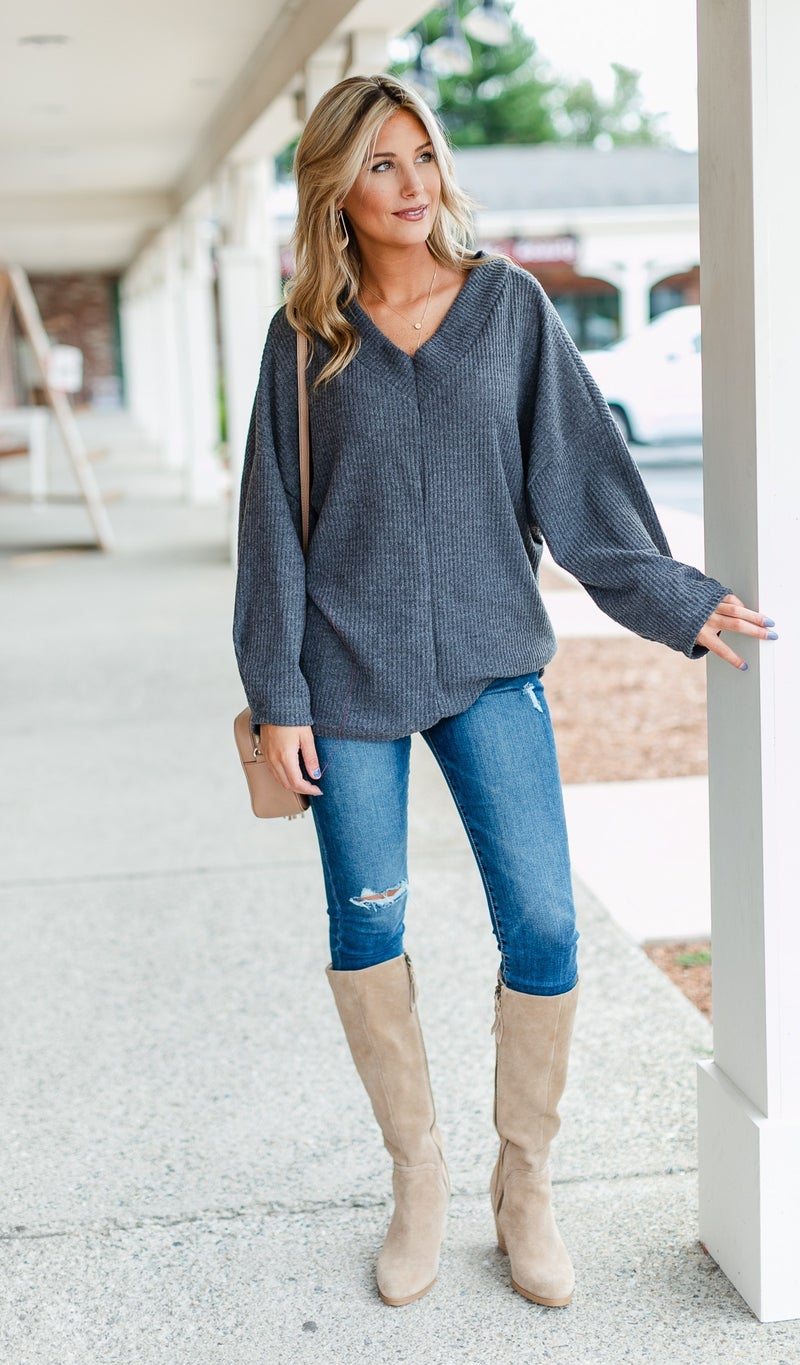 Coast To Coast Knit Top, Olive, Black or Charcoal