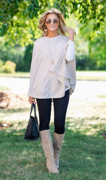 Manhattan Nights Sweater/Poncho, Oatmeal