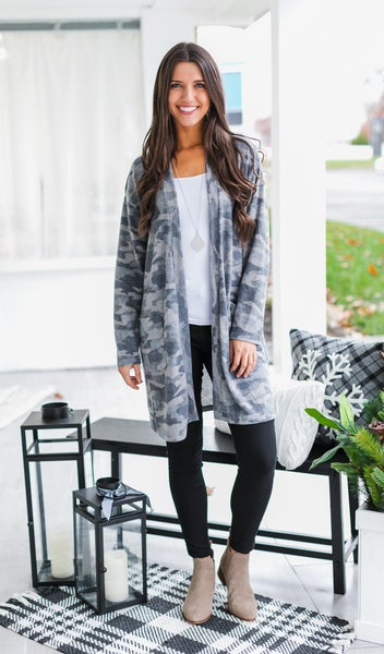 The Leah Camo Cardigan, Grey