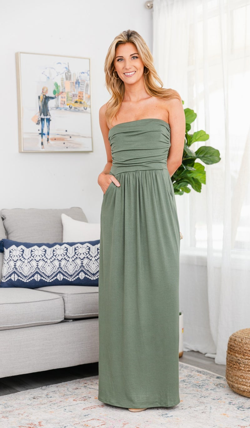 Essential Strapless Maxi, Light Olive