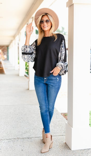 Day Trip Mixed Fabric Top, Black