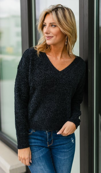 Warm And Cozy Knit Sweater, Black or Green