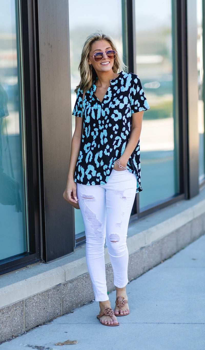 Be So Bold Top, Black and Mint