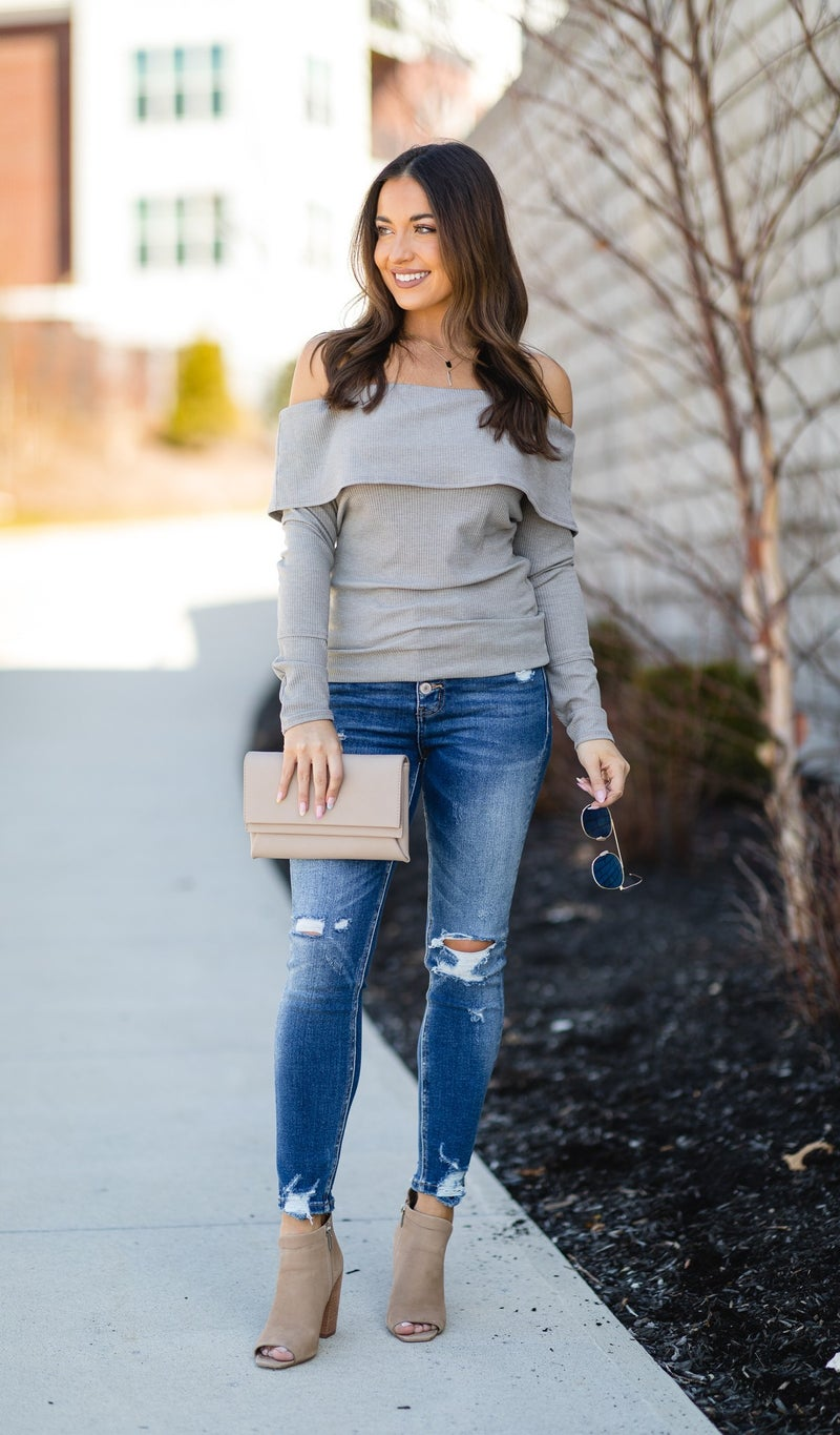 The Lucia Top, Heather Grey
