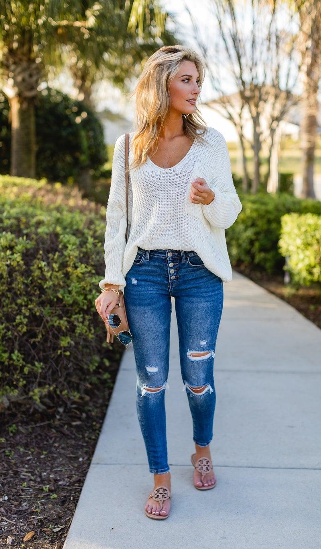 The Savannah Sweater, White