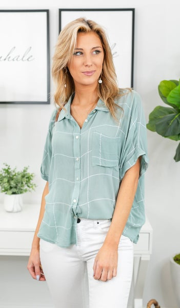 Wake Up Your Style Blouse, Sage