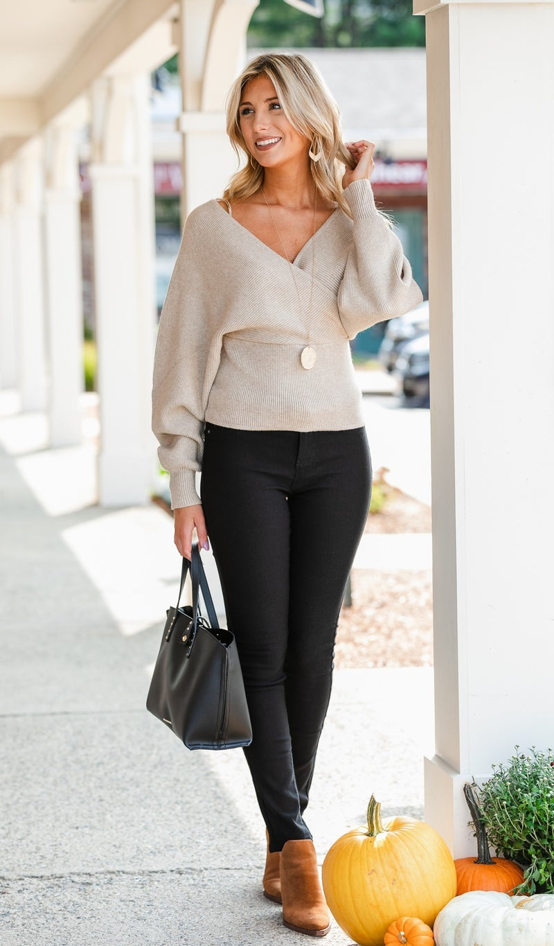 Annabella Knit Crossover Sweater, Oatmeal or Slate