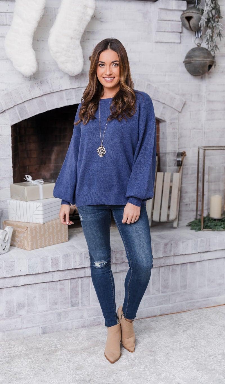 The Bella Sweater, Indigo