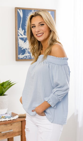 Sunny Days Off The Shoulder Top, Blue