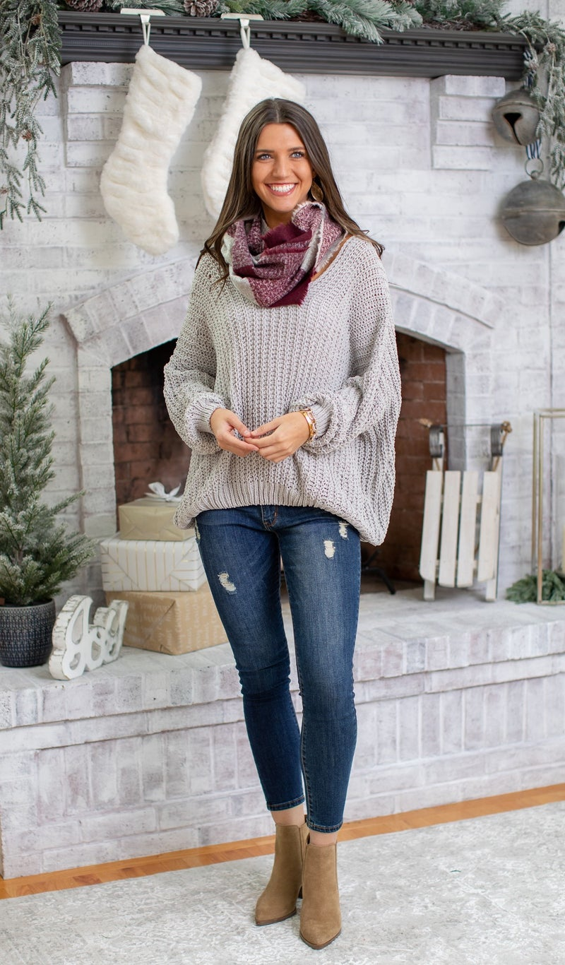 Madison Chain Cable Knit Sweater, Grey