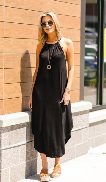 Bardot Maxi Dress, Black