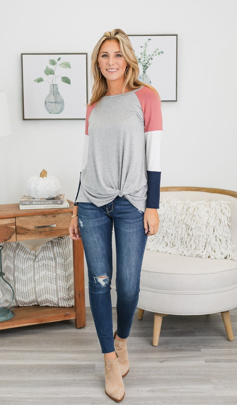 Chasing A Feeling Top, Grey, Navy, and Mauve Mix