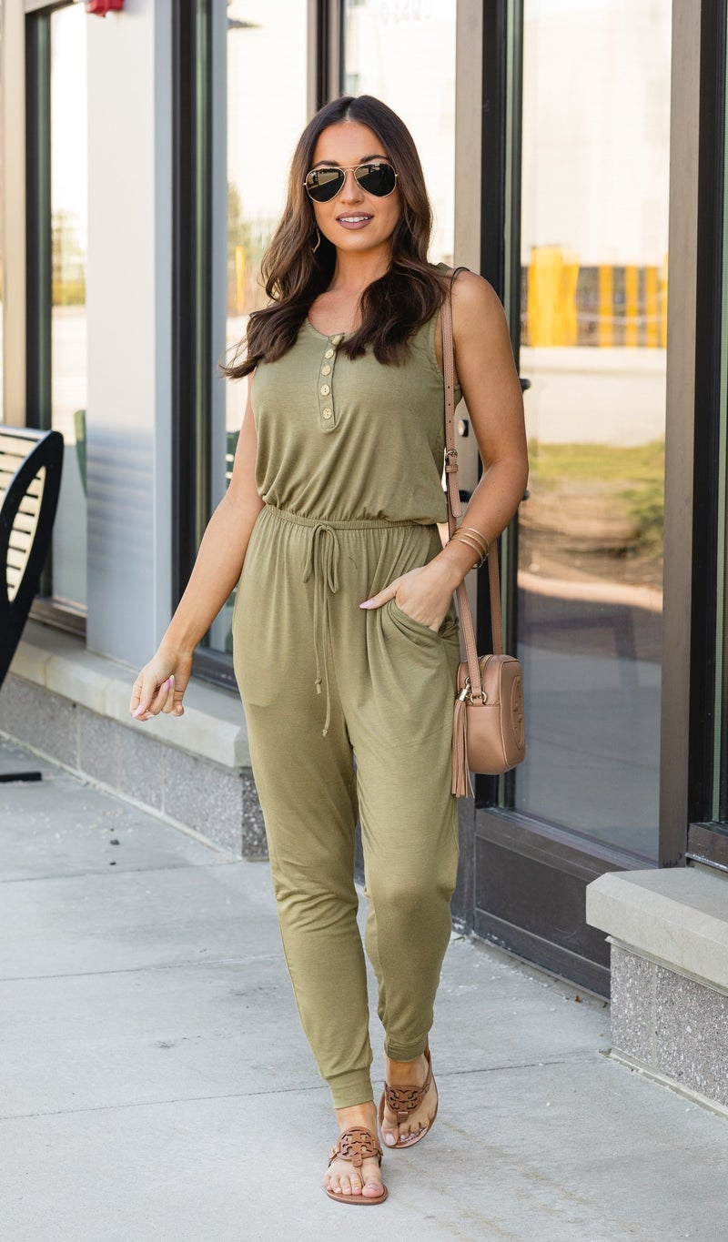 The Sporty Chic Jumpsuit, Moss