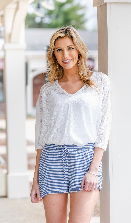 Beachside Comfort Shorts, Denim/Ivory Stripe