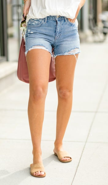 On The Town Mid Rise Denim Shorts, Light Wash