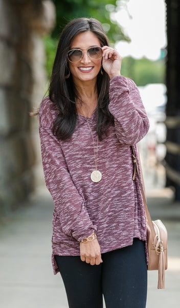 Keep Moving Two-toned Tunic, Hunter, Black, Burgundy & Taupe