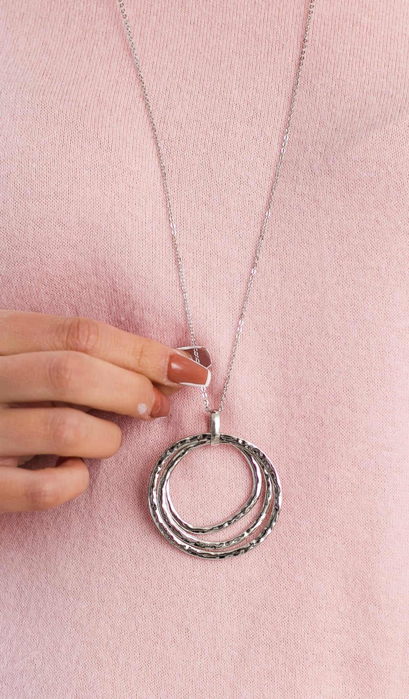 Rustic Circle Pendant Necklace, Silver or Gold