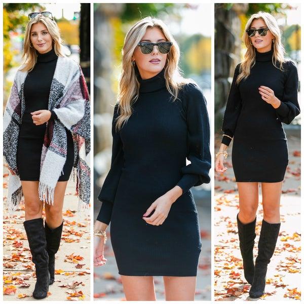 Always Stylish Sweater Dress, Black