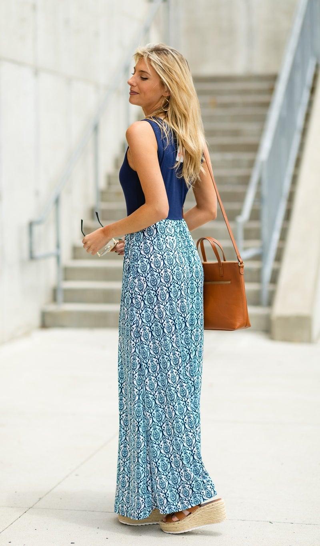 The Anna Maxi Dress, Blue Print