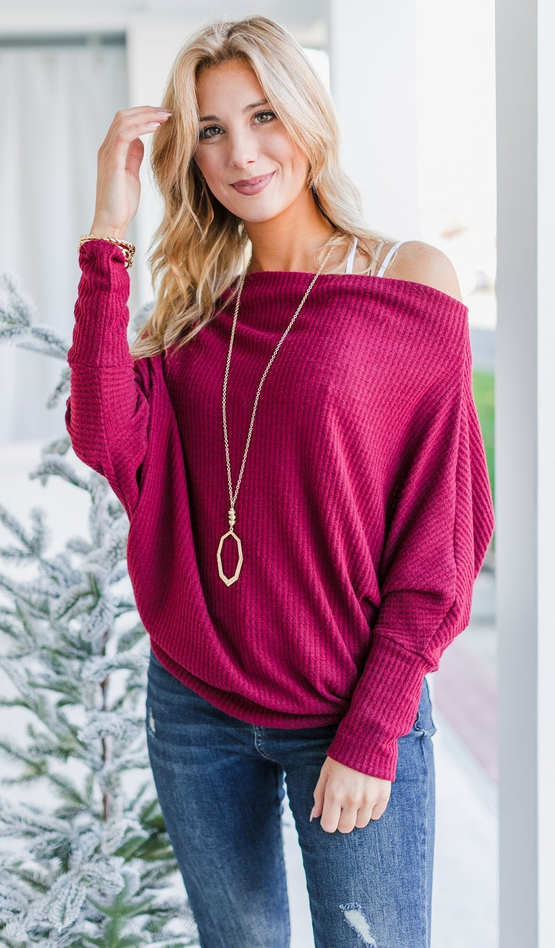 Beverly Knit Top, Burgundy