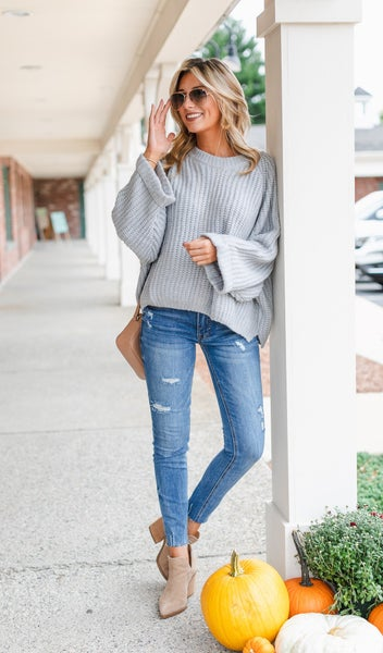 Chic As Can Be Sweater, Heather Grey