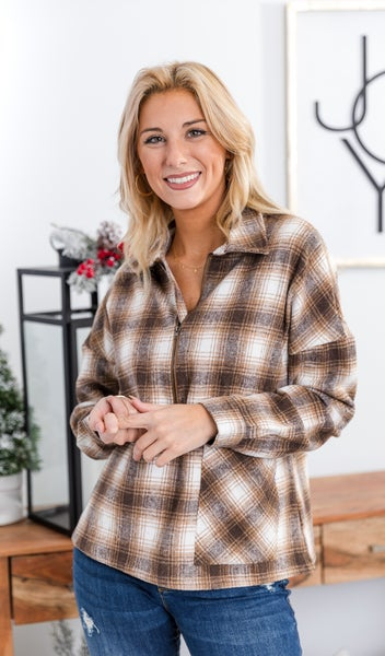 This Way Plaid Top, Warm Tones