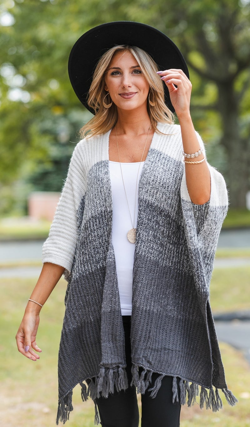 Knit Dreams Striped Sweater/Cardigan, Grey