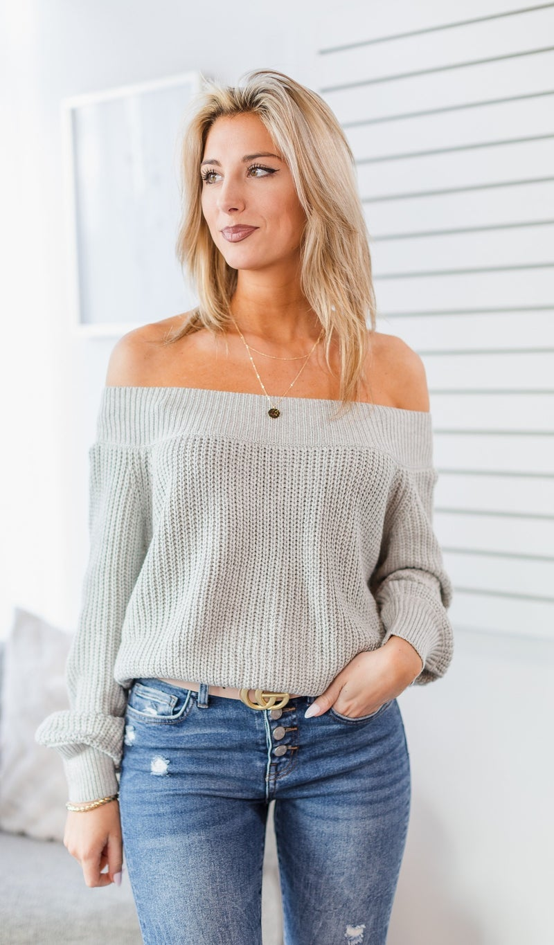 Be Brave Knit Sweater, Grey