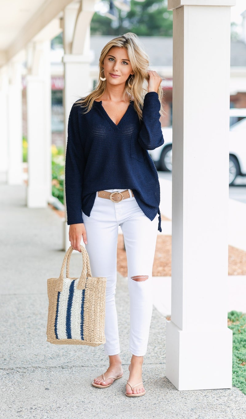 Can't Leave Behind Top, Navy