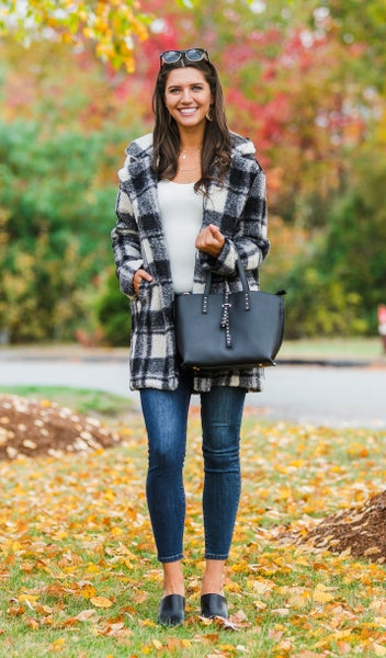 Cozy Classic Coat,  Black Plaid