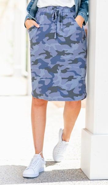 Camo Dream Skirt, Navy