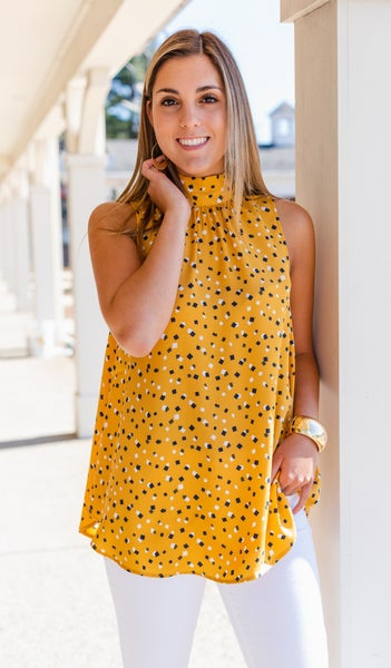 There For You Tank Blouse, Mustard