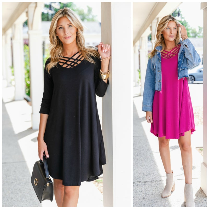 It's a Steal Dress in Black or Magenta