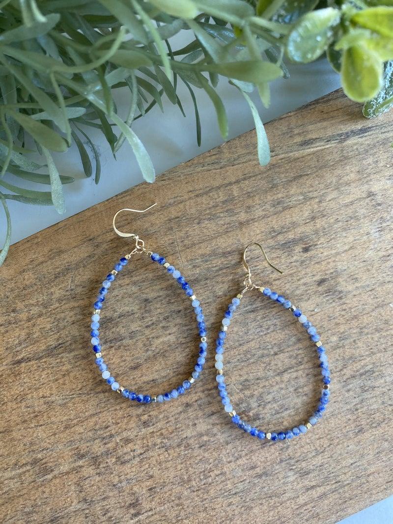 Teardrop Beaded Earring, Blue