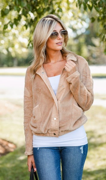 Easy Snap Faux Sherpa Jacket, Caramel