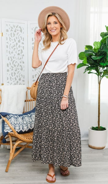 Make You Smile Floral Skirt, Black