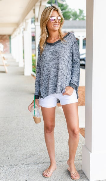 Boho Beauty Top, Marled Charcoal grey