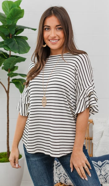 Stripe Obsessed Top, Ivory/Black