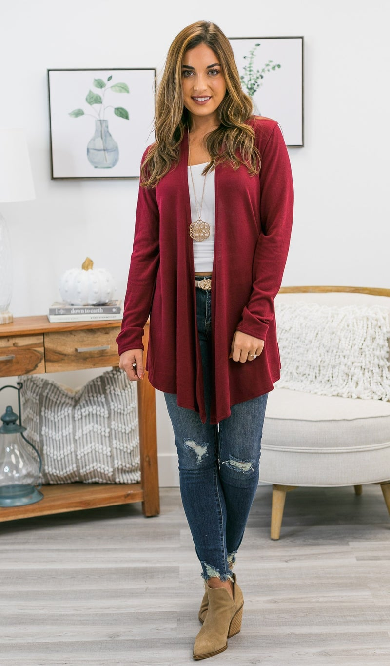 Can't Get Enough Cardigan, Burgundy or Oatmeal