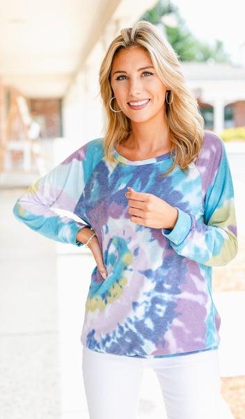 Bae Pullover, Lavender/ Blue Tie Dye