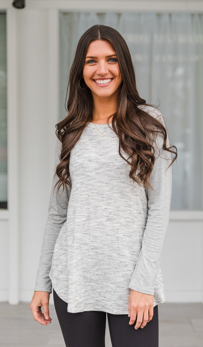 Easy For You Top, Heathered Grey