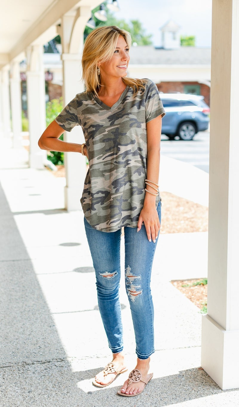 One True Print Top, Camo
