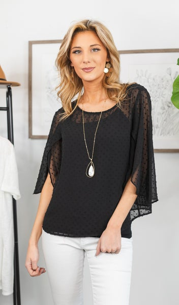 Distracted By You Top, Black
