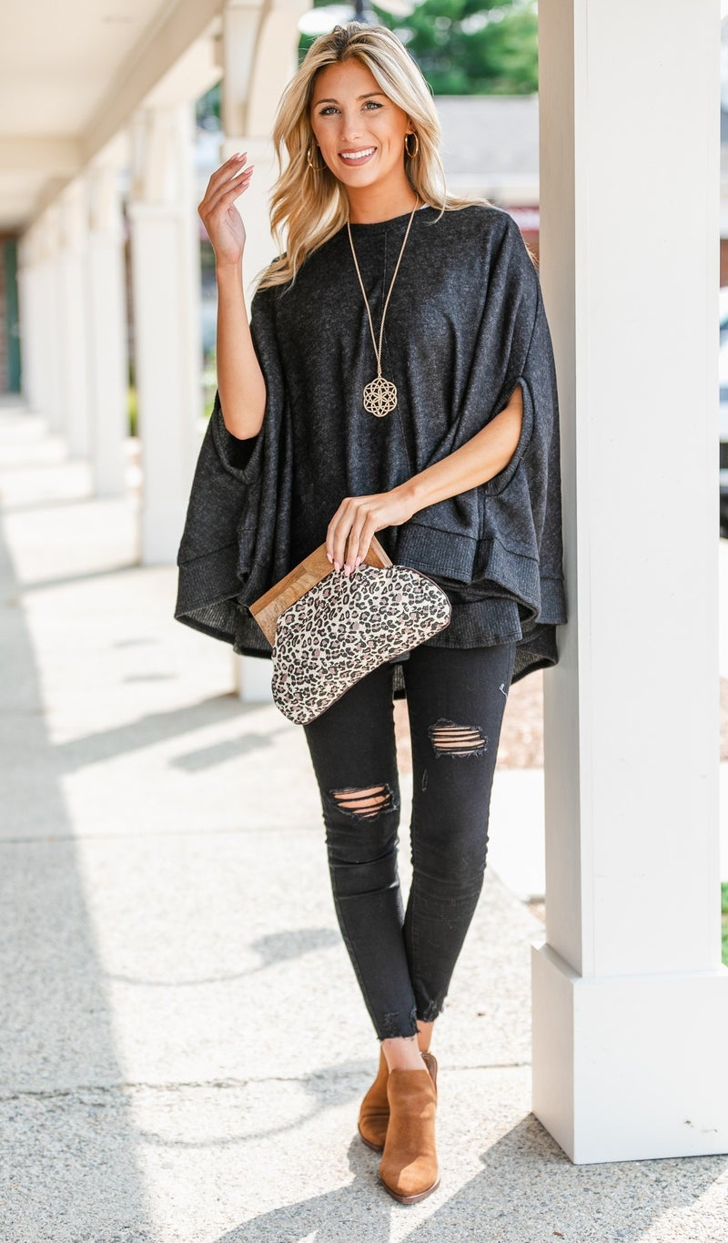 Manhattan Nights Sweater/Poncho, Charcoal