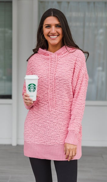 The Mia Popcorn Sweater, Light Pink